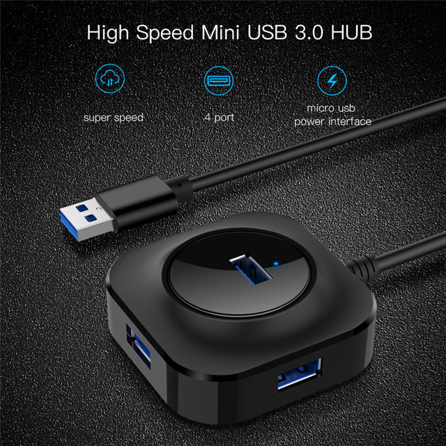 USB хаб/концентратор/разветвитель Robotsky на 4 USB 3.0 порта Черный