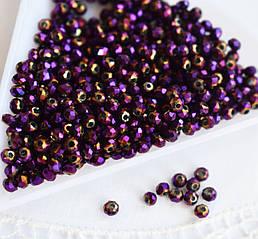 Рондели 2*3мм, 50 шт, стекло, фиолетово-золотистый ирис