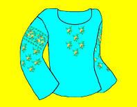 Заготовка  под вышиванку (Креп-сатин) синяя, бисером или крестом