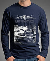 """0042 LS-NY  Мужская футболка-лонгслив """" World of tanks». Темно-синяя"""