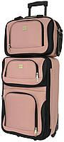 Комплект качественный дорожный чемодан на колесиках и сумка в подарок для путешествий маленький розовый