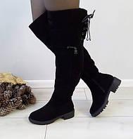Ботфорти жіночі чорні зимові екозамшеві на низькому каблуку. Тільки 38 розмір!