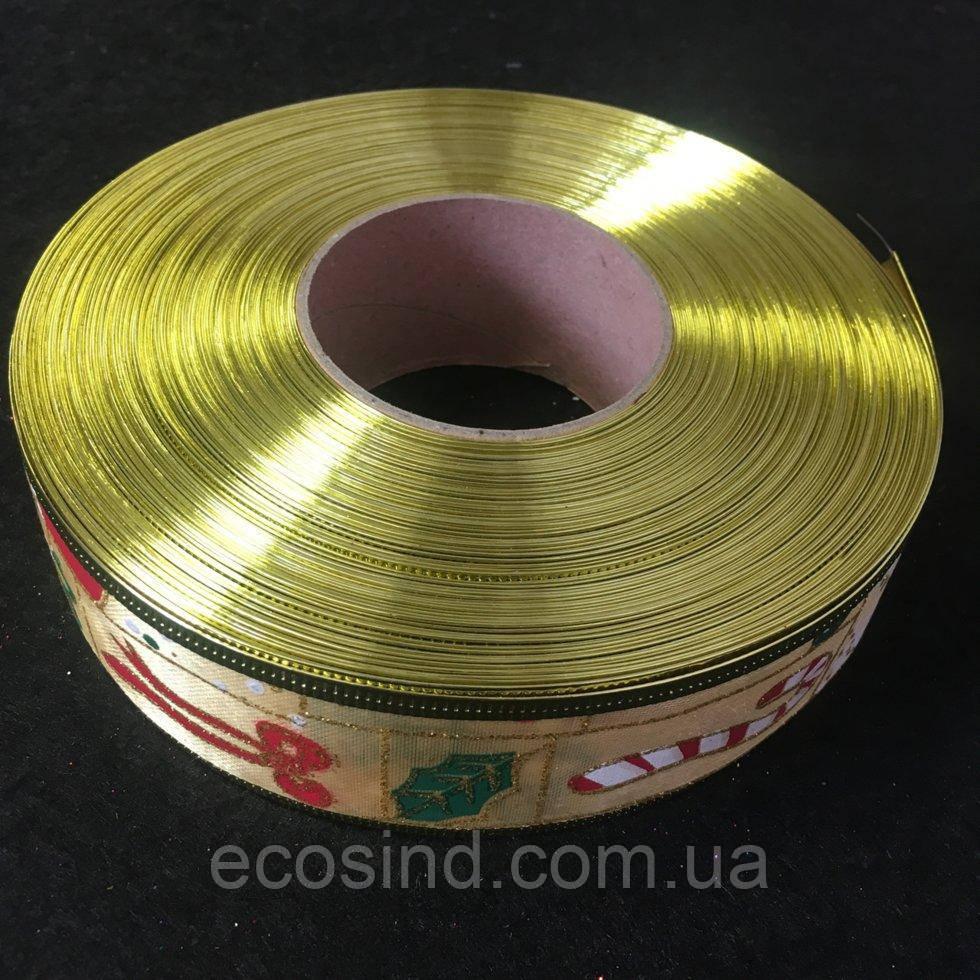 Декоративная лента новогодняя тематика, золото (1-2118-Е-77)