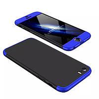 Чехол GKK 360 для Iphone 5 / 5s / SE Бампер оригинальный Black-Blue без выреза