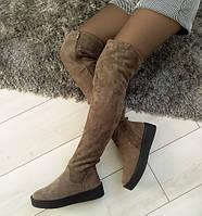 Ботфорти жіночі сірі зимові екозамшеві на низькому каблуку