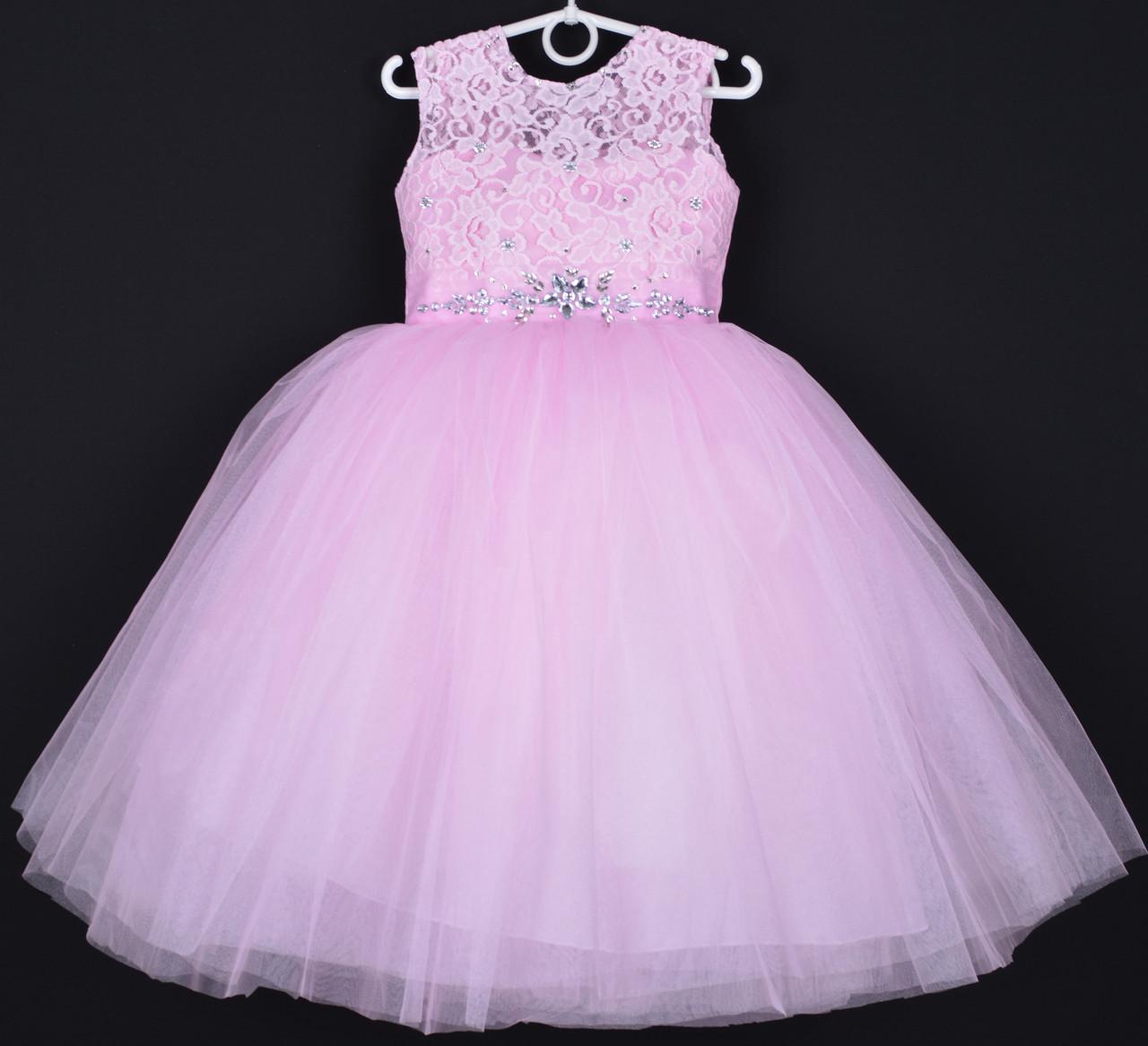 """Платье нарядное детское """"Диадема"""". 5-6  лет. Розовое. Оптом и в розницу"""