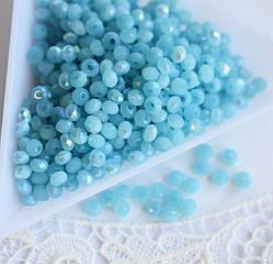 Рондели 2*3мм, 50 шт, стекло, голубая