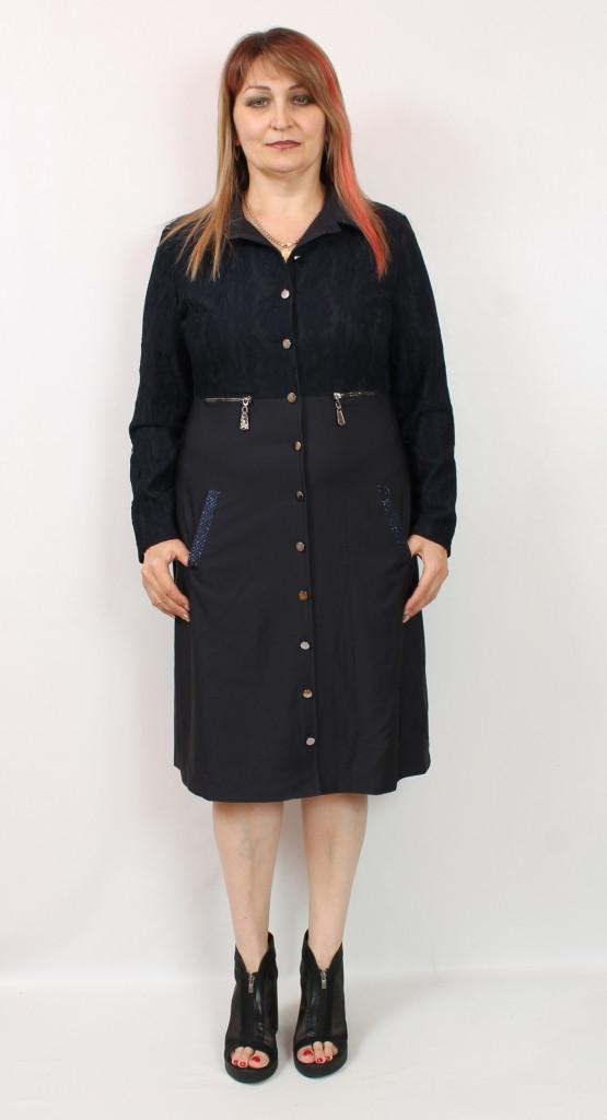 Турецкое женское платье рубашка с кружевом, размеры 48-54