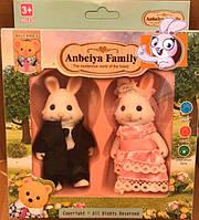 Набор флоксовых животных Зайцы Happy Family 012-05С, аналог Sylvanian Families