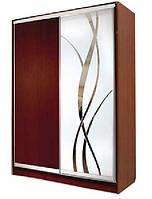 Шкаф-купе Стандарт двухдверный ДСП + зеркало + пескоструй на 1 двери