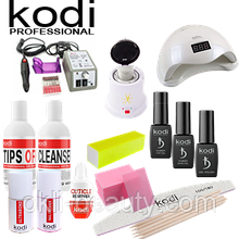 Стартовый набор для покрытия ногтей гель-лаком Kodi Professional с фрезером Lina 20000 и лампой Sun 5 (48W)