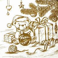 """№ 4 Салфетка для декупажа или сервировки стола """"Мишка с подарками"""". 33х33"""