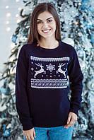 """Рождественский женский свитшот темно-синего цвета """"Рождественское чудо"""""""