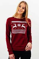 Женский рождественский свитшот к праздникам красного цвета