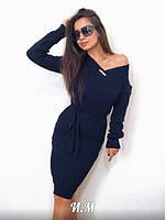Платье молодежноестильное с поясомразмер универсальный44-52, темно-синего цвета
