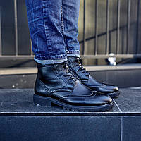 Мужские зимние ботинки броги на меху