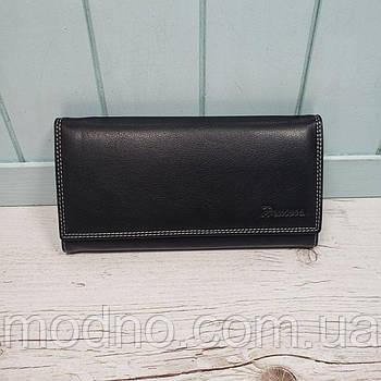 Женский кожаный кошелек на кнопке черный Prensiti