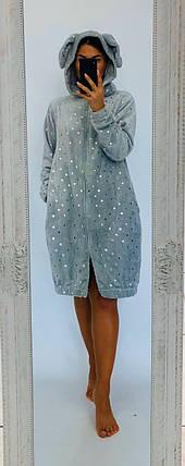 Махровый халат серого цвета с ушками и принтом Звезды  42-50 р, фото 2