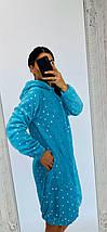 Махровый халат с принтом Звезды и ушками на капюшоне голубой  42-50 р, фото 3