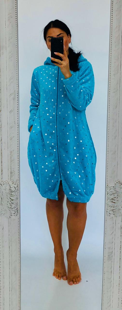 Махровый халат с принтом Звезды и ушками на капюшоне голубой  42-50 р
