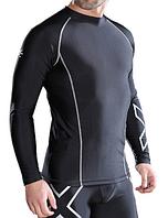 Комплект мужской компрессионной одежды 2XU для тренировок (рашгард+лосины) серебро