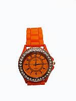Часы женские с камнями Geneva Silicon Оранжевые, КОД: 112023