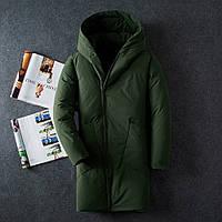Мужская куртка пальто на холодную зиму хаки