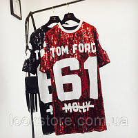 Женское платье туника Tom Ford 61 с пайетками красное