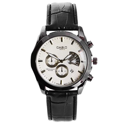 Часы наручные мужские 6112/8224-2 Casio White BK-BK (копия)