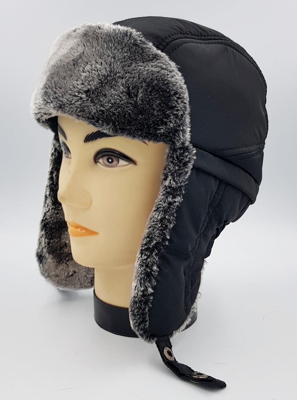 Зимняя мужская шапка-ушанка  Klaus с Искусственным Мехом 58-59 Чёрная с серым(09/10)