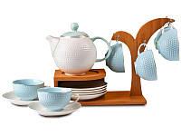 Чайный набор Lefard на бамбуковой подставке 13 предметов голубой