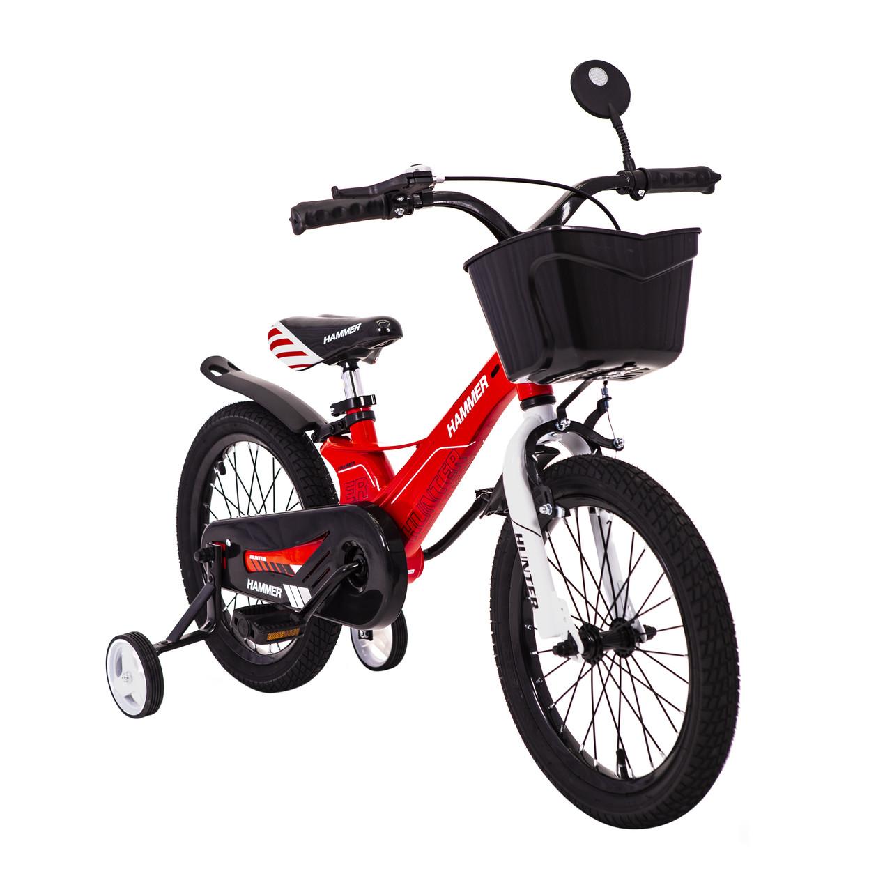 Дитячий Велосипед з кошиком легкий магнієва рама HAMMER HUNTER-1450D Червоний