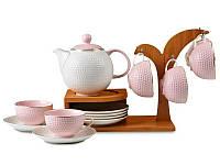 Чайный набор Lefard на бамбуковой подставке 13 предметов розовый