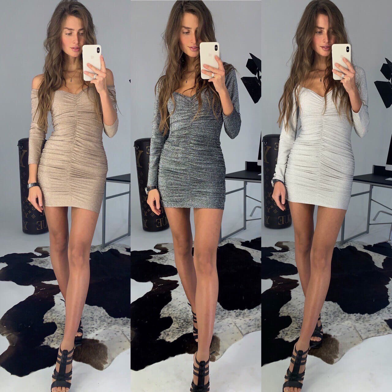 Платье женское вечернее бежевый, графит, серебро