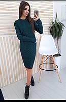 Платье молодежноестильноеразмер универсальный44-52, темно-зеленого цвета