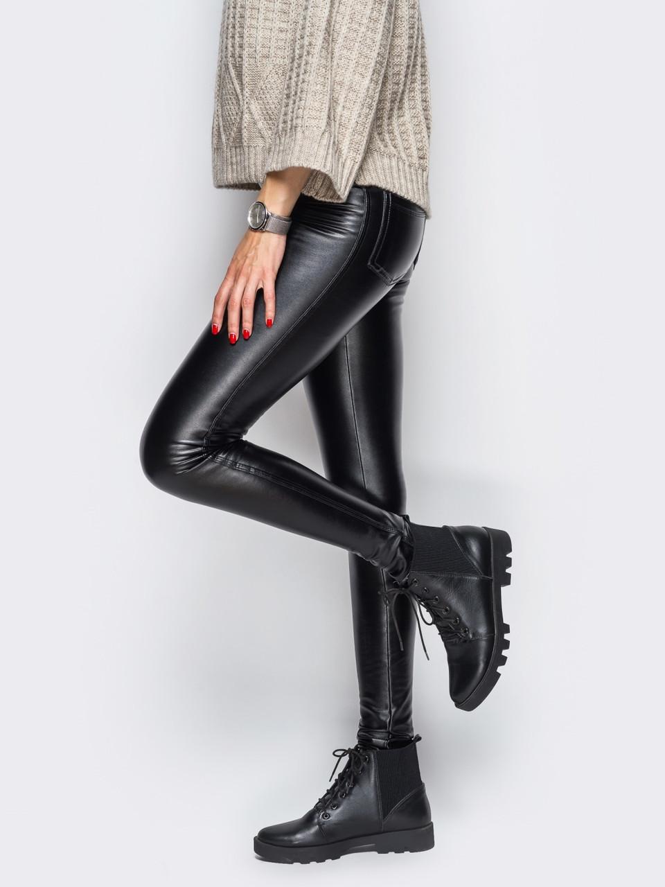 Потрясающе стильные теплые лосины леггинсы кожа на флисе утепленные Л-ка черные