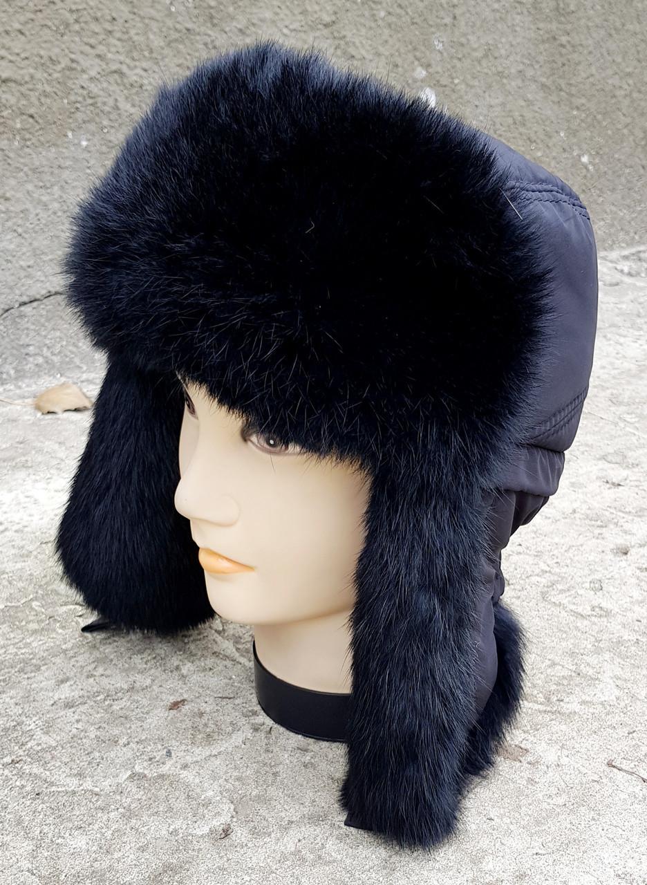 Зимняя мужская шапка-ушанка Klaus с Резинкой 58-60 Чёрная (09/11)