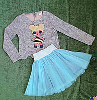Комплект нарядный юбка+кофта, Ричи, размер 128-152, пудра+голубо