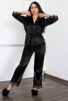 Женская пижама атлас-шелк брюки и блуза с кружевом,одежда для дома