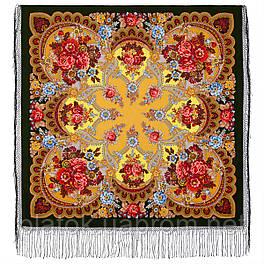 Времена года. Осень. 708-10, павлопосадский платок (шаль) из уплотненной шерсти с шелковой вязаной бахромой