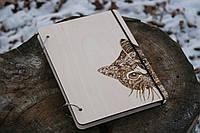 """Скетчбук деревянный """"Любопытный кот"""" формат А5"""