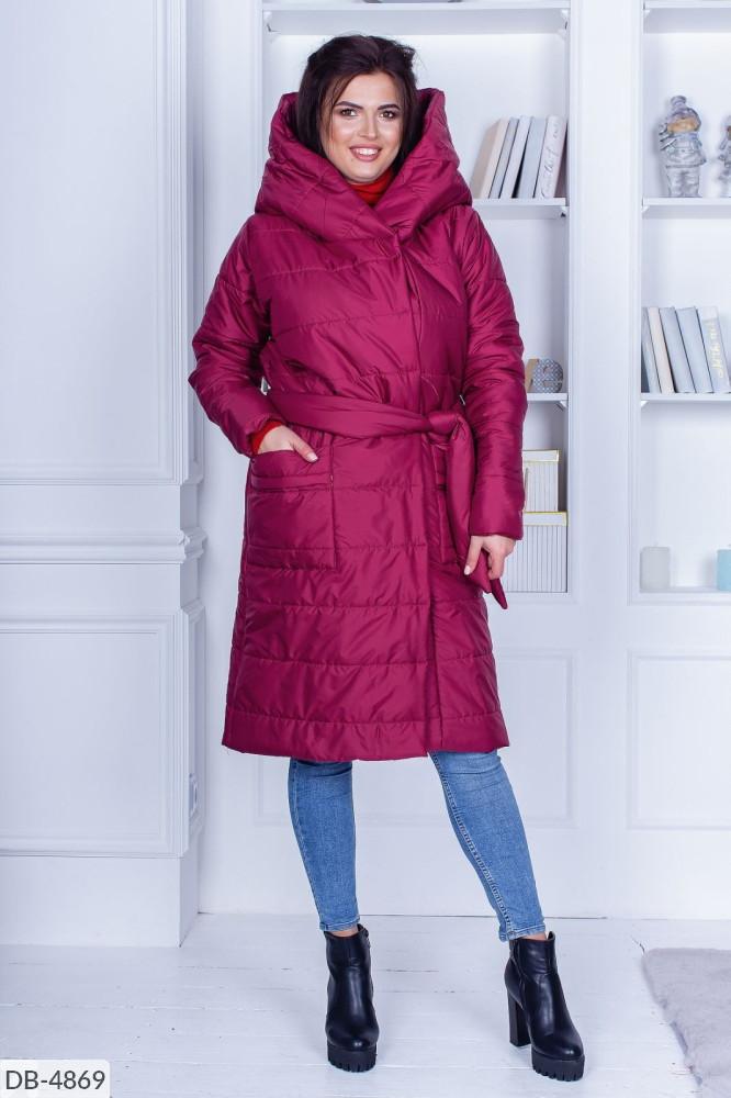 """Пальто женское плащёвка,синтепон 200,зимнее тёплое пальто, на запах, на кнопках с поясом.   (50-52;54-56) """"Chilado"""" 2P/NS-2030"""