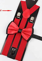 Комплект подростковый Подтяжки + Бабочка рост 140-170 см (красные01)