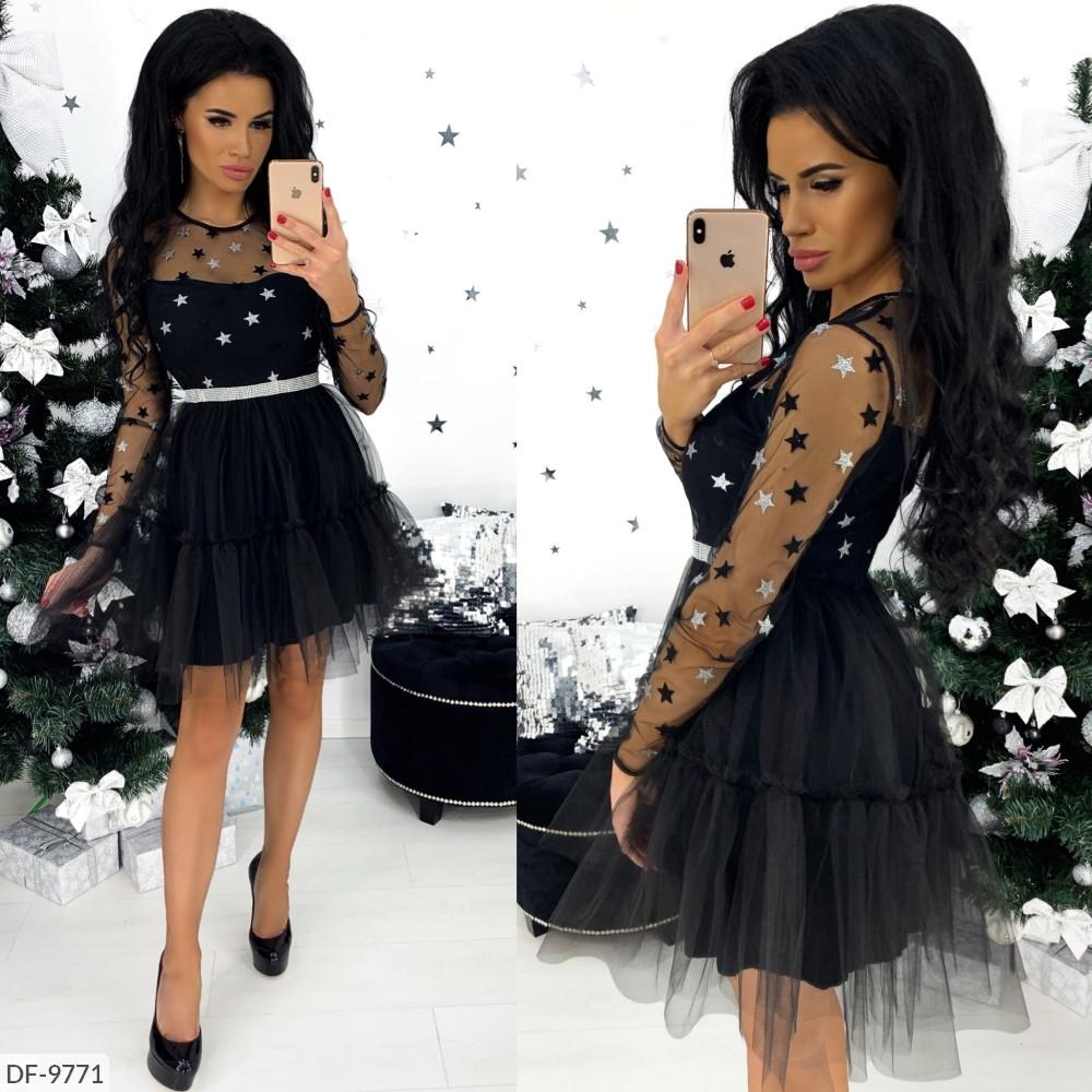 """Платье женское  верх- сетка, низ-фатин на стрейч подкладке  (42;44;46) """"Annabelle"""" 2P/GA-4661"""