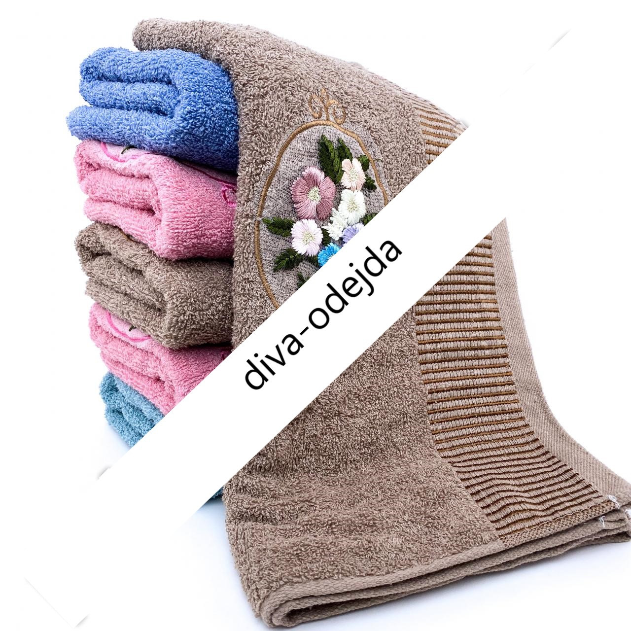 Банное полотенце с цветочной нашивкой. Размер:1,4 x 0,7