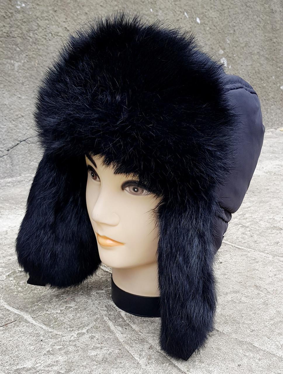 Зимняя мужская шапка-ушанка Klaus Spartak 58-60  Классика-Чёрная (01/19)