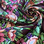 Воспоминания о лете 563-18, павлопосадский платок (шаль) из уплотненной шерсти с шелковой вязанной бахромой, фото 6