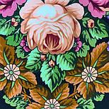 Воспоминания о лете 563-18, павлопосадский платок (шаль) из уплотненной шерсти с шелковой вязанной бахромой, фото 3