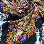 Воспоминания о лете 563-18, павлопосадский платок (шаль) из уплотненной шерсти с шелковой вязанной бахромой, фото 5