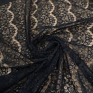 Ткань гипюр реснички плотный черный
